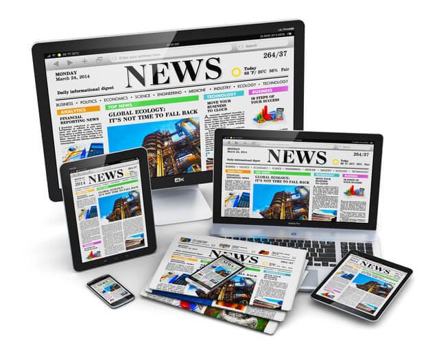 新聞・パソコン・スマホなどでのニュースの配信
